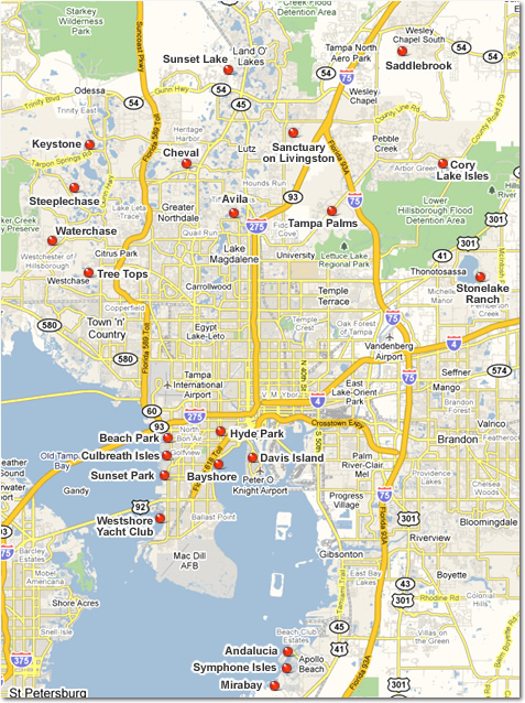 Tampa Luxury Communities Map - Click on red dots to view luxury homes for sale in Tampa luxury communities.