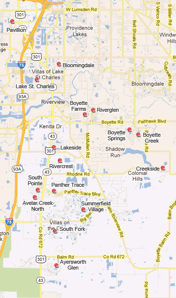 Map of Communities / Subdivisions in Riverview Florida