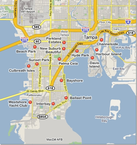 Map of South Tampa real estate communities