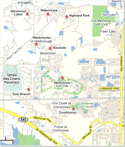Map of subdivisions in Westchase - Tampa Florida real estate