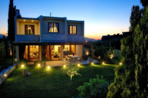 Image of a home with creative front lighting setup